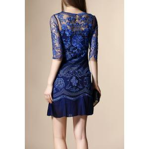 Embroidery See Through Pleated Dress - BLUE XL