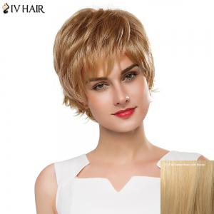Fluffy Straight Layered Siv Hair Capless Vogue Short Real Human Hair Wig For Women - Golden Brown With Blonde