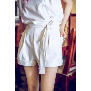 Cotton Cuffed Pleated Shorts -