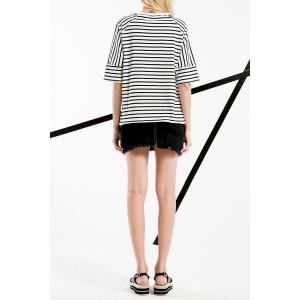 High Low Stripe Cotton Tee -