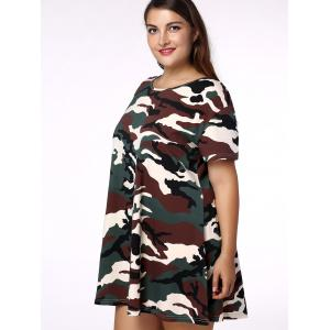 Plus Size Casual Short Sleeves Camo Dress - CAMOUFLAGE 4XL