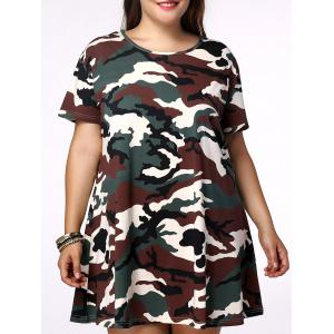 Plus Size Casual Short Sleeves Camo Dress