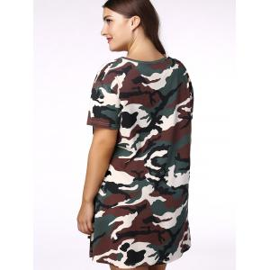 Plus Size Casual Short Sleeves Camo Dress - CAMOUFLAGE 2XL
