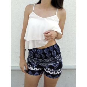 Stylish White Flounced Tank Top and Printed Shorts Women's Twinset - WHITE XL