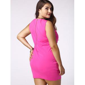 Plus Size Sleeveless Cut Out Bandage Dress - ROSE 4XL