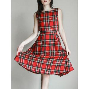 Vintage Jewel Neck Sleeveless Plaid Belted Women A-line Dress