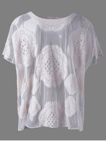 Shops Fashionable Scoop Neck Lace Batwing Sleeves Blouse For Women
