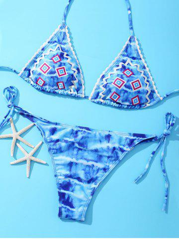 Store Attractive Halter Geometric Print Tie-Back Bikini Set For Women