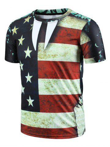 Round Neck Color Block Stripes Stars Print Short Sleeve Men's T-Shirt - Colormix - S