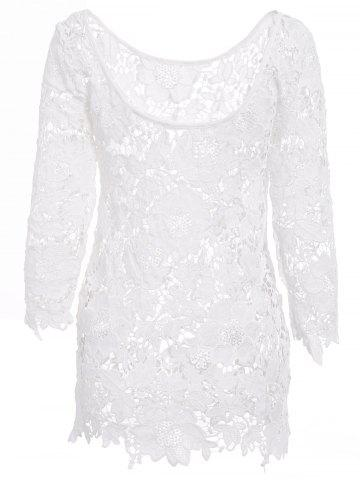 Hot Sexy Round Neck 3/4 Sleeve Cut Out Crochet Women's Cover Up WHITE L