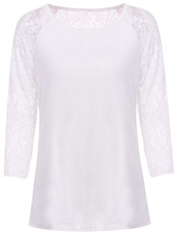 Medium WHITE Solid Color Hollow Out Lace Spliced Long Sleeve T Shirt