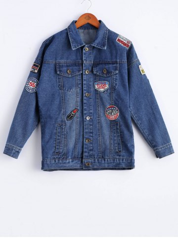 Outfit Chic Long Sleeve Applique Denim Jacket For Women