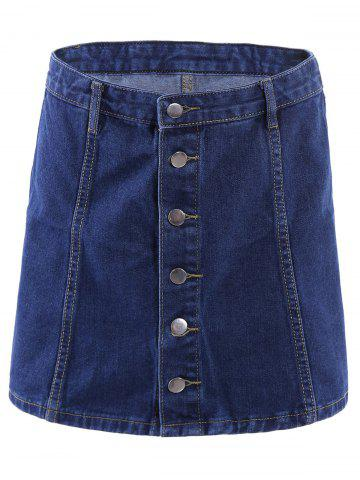 Buy Button Front Mini Denim Skirt BLUE L
