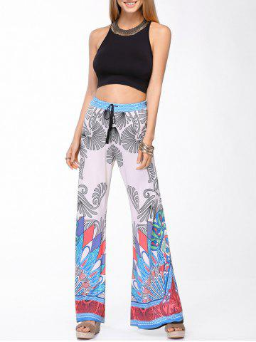 Fancy Stylish Round Neck Tank Top and Printed Wide Leg Pants Set For Women