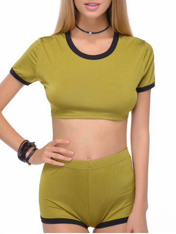 Cheap Stylish Scoop Neck Short Sleeve Crop Top and Shorts Set For Women