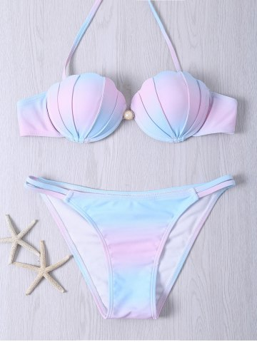 Alluring Halter Neck Beaded Color Ombre Bikini Set - Colormix - M