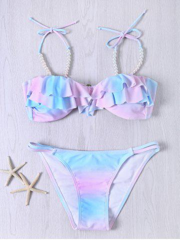 New Sweet Spaghetti Strap Flounced Beaded Color Ombre Bikini Set COLORMIX 2XL