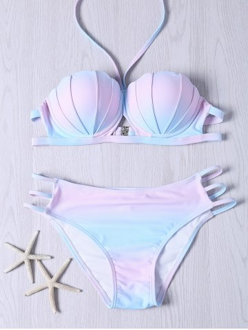 Sweet Halter Neck Ombre Design Bikini Set - COLORMIX 2XL