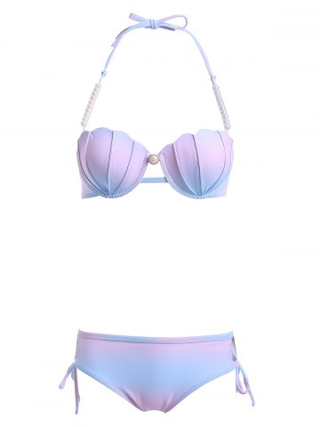 Shops Stylish Beaded Halter Neck Ombre Design Bikini Set COLORMIX 2XL