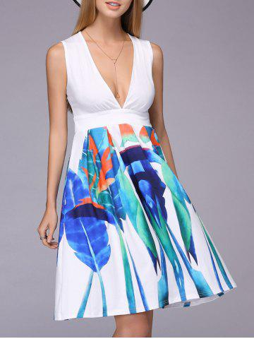 Fancy Alluring Plunging Neck Sleeveless Printed Ruched Dress For Women