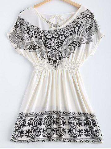 Hot Fashionable Printing V-Neck Lace Up Dress For Women