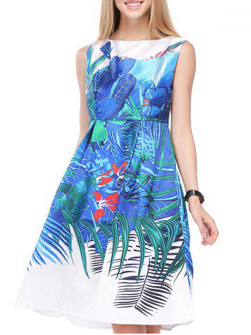 Best Vintage Floral Print High Waist Sleeveless Dress For Women