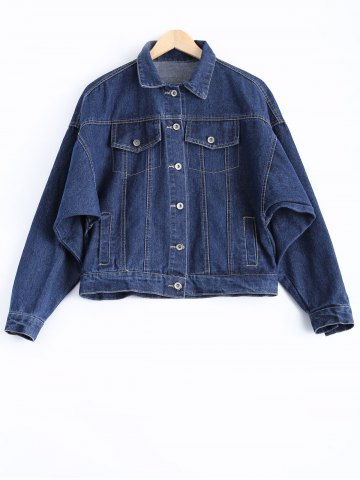 Cheap Stylish Letter Print Long Sleeve Flap-Pocket Denim Jacket For Women