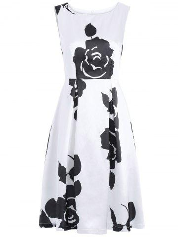 Cheap Vintage Round Neck Sleeveless Floral Print Dress