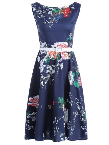 Best Vintage Belt Tie Sleeveless Floral Print Women's Dress