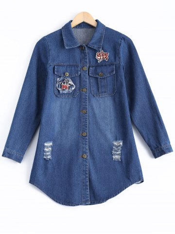Cheap Ripped Embroidery Button Design Denim Shirt