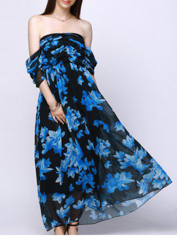 New Strapless Bandeau Floral Maxi Flowy Chiffon Dress
