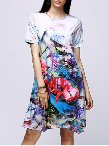 Online Elegant Jewel Neck Floral Print Short Sleeve Dress For Women COLORMIX 2XL