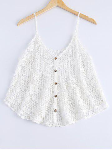 Hot Loose-Fitting Openwork Spaghetti Strap Tank Top For Women