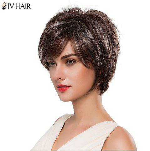 Outfit Fashion Women's Short Shaggy Side Bang Siv Human Hair Wig - COLORMIX  Mobile
