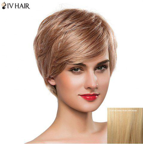 Cheap Gorgeous Women's Short Fluffy Oblique Bang Siv Human Hair Wig