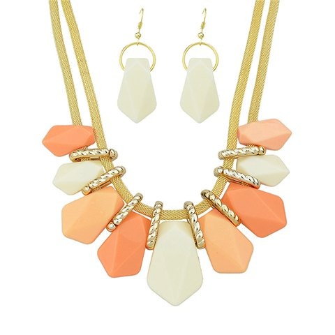 Shop A Suit of Alloy Geometric Beads Necklace and Earrings PINK