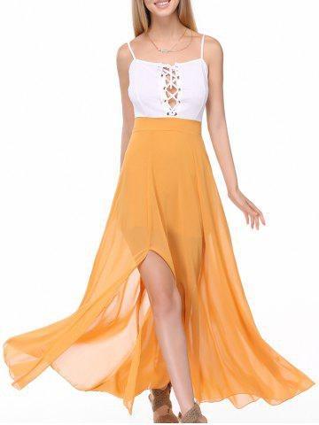 Discount Alluring Spaghetti Straps Lace Up Slit Chiffon Dress For Women