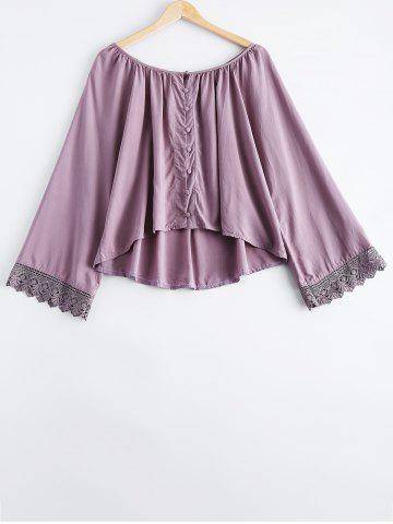 Simple Scoop Neck Lace Button Long Sleeves Blouse For Women - Light Purple - One Size(fit Size Xs To M)