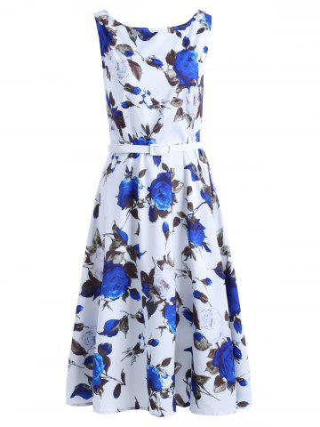 Fancy Vintage Sleeveless Floral Print Belted Women's Dress