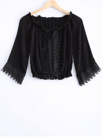 Online Fashionable Lace Openwork Tie Long Sleeves Blouse For Women