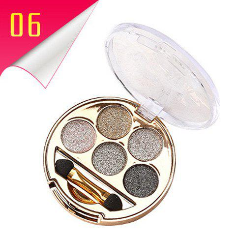 Outfit Stylish 5 Colours Long Wear Brightening Shimmery Diamond Eyeshadow Palette with Brush