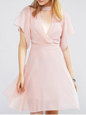 Fashion Choker Surplice Nipped Waist Chiffon Club Dress With Short Sleeve