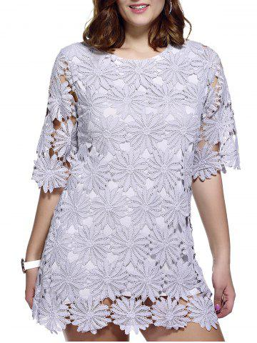 Sale Stylish Plus Size Floral Pattern Lace Overlay Dress For Women