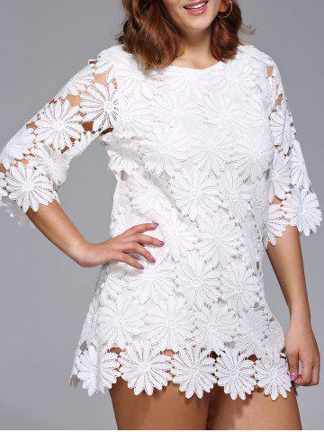 Online Stylish Plus Size Floral Pattern Lace Overlay Dress For Women