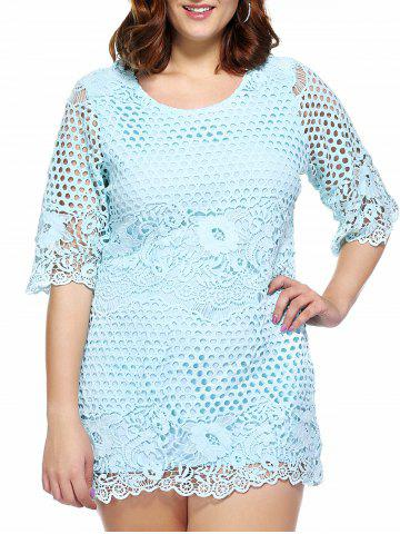 Trendy Stylish Plus Size Cutwork Lace Overlay Dress For Women