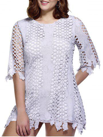 Affordable Stylish Plus Size Hollow Out Lace Overlay Dress For Women