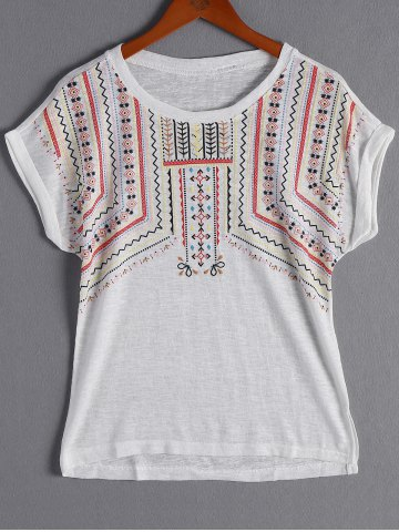 Fancy Ethnic Dolman Sleeve Tribal Printed T-Shirt For Woman