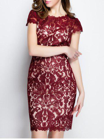 Best Trendy Solid Color Lace Bodycon Dress DEEP RED XL