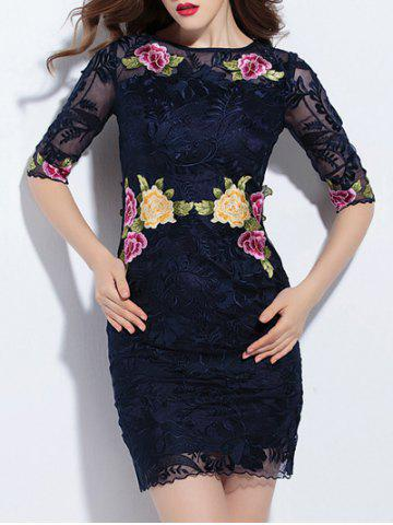Chic Trendy Embroidered Lace Bodycon Dress PURPLISH BLUE M