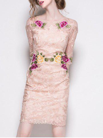 Fancy Trendy Embroidered Lace Bodycon Dress